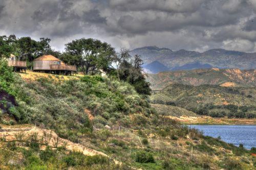 kalnai, ežeras, gamta, lauke, kempingas, Kalifornija, vanduo, ežeras, šepetys, medžiai, kalnai ir ežeras
