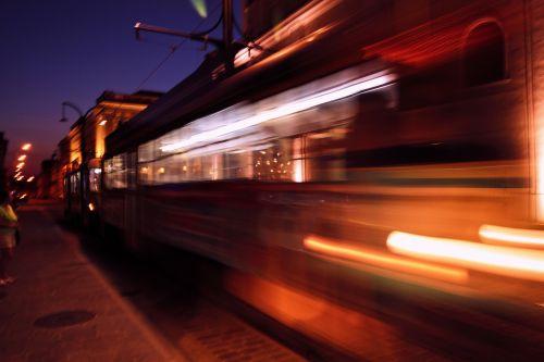 tramvajus, juda & nbsp, tramvajaus, naktis, žibintai, rytinė & nbsp, Europa, traukinys, judėjimas, juda, romanija, šviesa, judantis tramvajus