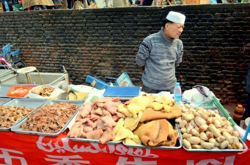 žmonės, verslas, musulmonas, mėsininkas, parduoti, gatvė, mėsa, organai, musulmonų mėsininkas