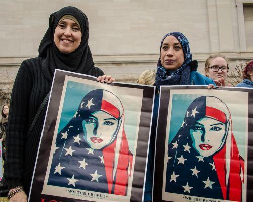 musulmonai,imigrantai,amerikietis,mus,protestas,ralis,žmonės,trumpas,suvienyti,diskriminacija,vėliava