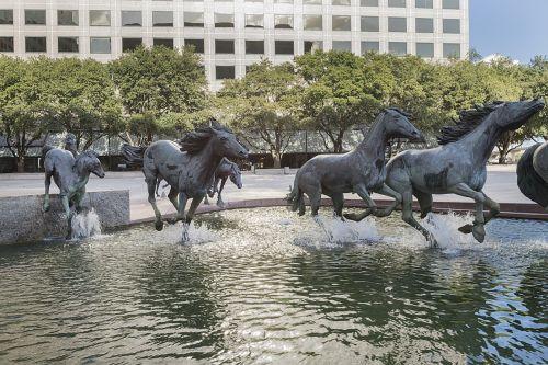 Mustangas, skulptūra, fontanas, bronza, menas, meno kūriniai, architektūra, texas, simbolis, statula, kvadratas, kultūra, miesto, turistinis, lauke, centras, irving, Usa