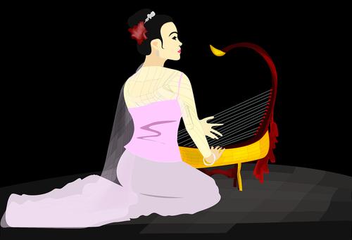 Mianmaras panele, Mianmaras kultūra, Moteris, Birmos, muzika menas, tradicinis, Nemokama vektorinė grafika, Nemokama iliustracijos