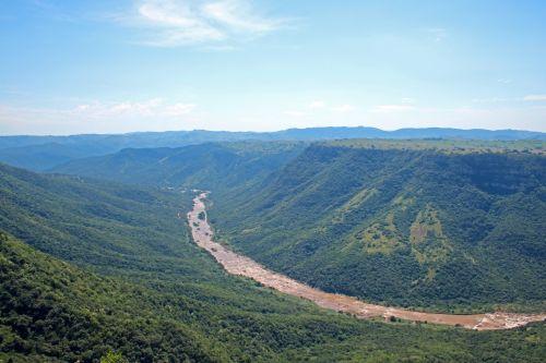 upė, Gorge, kanjonas, giliai, pusės, žalias, augmenija, oribi & nbsp, gorge, kwazulu & nbsp, natal, umzimkhulu upės pilis Oribi Gorge