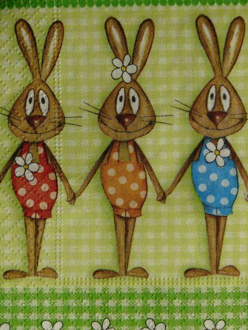 servetė,Velykos,Velykų servetėle,Velyku Triusis,Velykų zuikių šeima,šventė,festivalis,apdaila