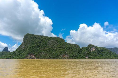 natūralus,kraštovaizdis,kalnas,klinčių uolas,Rokas,vandenynas,jūra,kelionė,žinoma vieta,phang nga bay,Tailandas,asija,miškas,pelkė,įlanka,atostogos,atogrąžų,orientyras