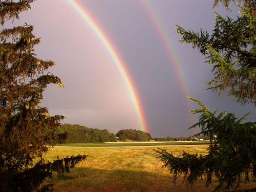 gamta,vaivorykštė,dviguba vaivorykštė,dangus,kraštovaizdis,dvigubas,antrinė vaivorykštė,vaivorykštės spalvos,pasiekti,gamtos reiškinys,įspūdingas,spektras,saulės šviesa,veidrodis,refrakcija,spalva,du,spalvinga