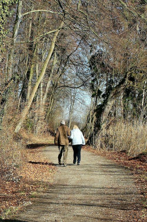 gamta,toli,vaikščioti,harmonija,ranka rankon,ranka rankoje,Asmeninis,pora,bendravimas,kartu,dviems,vyresni,senas,santykiai,vyras ir moteris,siluetai,mėgėjai