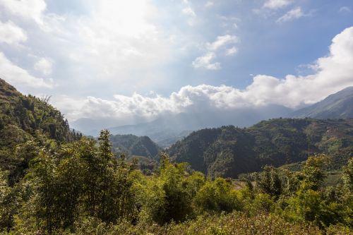 gamta, kraštovaizdis, medis, kalnas, dangus, Sapa, Vietnamas, ryžių laukai, ryžiai, ryžių terasos, terasos laukai, panorama, kelionė, augalas, kalnai, nuotaika, laukas, kalnas, asija, kelionė, Šiaurės Vietnamas, kalvotas, idiliškas, perspektyva, tylus, poilsis, žolė, be honoraro mokesčio