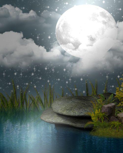gamta, vanduo, kraštovaizdis, dangus, mėnulis, be honoraro mokesčio, atspindys, ežeras, be honoraro mokesčio