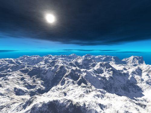 gamta, dangus, lauke, panoraminis, kalnas, mėlynas dangus, saulė, planeta, visata, užsienietis, exo planeta, peizažas, panorama, kraštovaizdis, horizontas, vaizdingas, kalnų, sniegas, nevaisinga, apleistas, virtualus, sukurtas kompiuteriu, šviesa, skrydis, didelis aukštis, sirrealis, kompiuteriu sukurtas, atstumas, sci-fi, be honoraro mokesčio