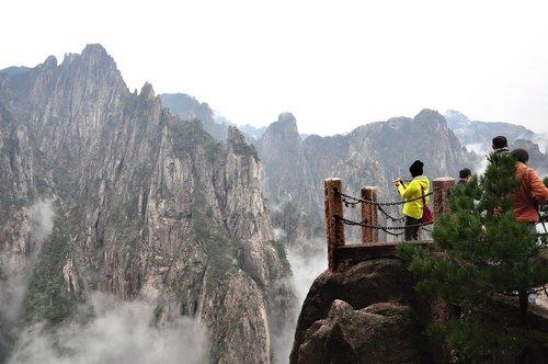 pobūdį, kalnų, kraštovaizdis, Rokas, Turizmas, Huangshan, Kinija, debesys, Debesis jūra, rašalas, pavasaris, meninė koncepcija, debesis, kelionė, juoda ir balta, natūralus, baltas debesis, Peržiūrų, kraštovaizdis