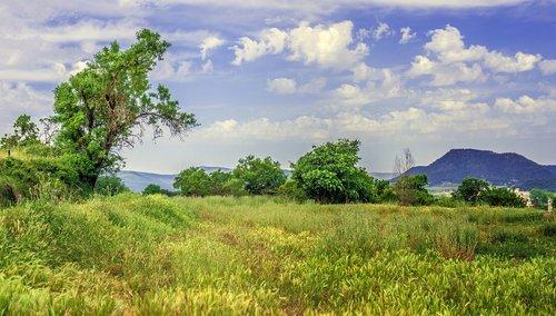 pobūdį, peizažai, kaimo kraštovaizdis, kalnų kraštovaizdis, natūralus kraštovaizdis, medis, žalias, medžiai, dangus, horizontas, laukas, dangus saulė