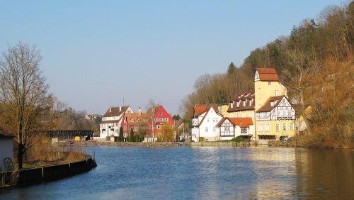 neckar,Rottenburg,upė,fachwerkhaus