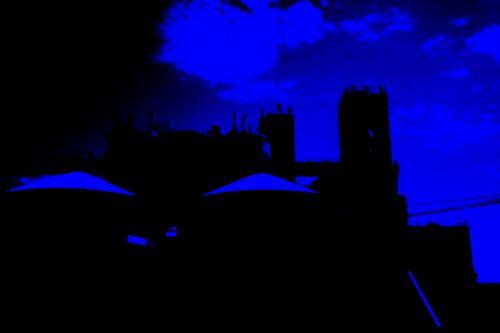 silosai, kriauklė, saugojimas, grūdai, kompleksas, šiuolaikiška, mėlynas, neonas, poveikis, grūdų siloso neonas