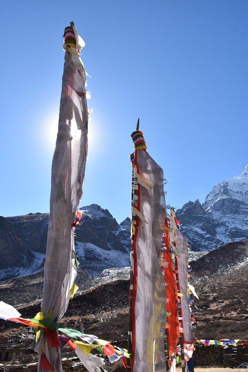 Nepale, kelionė, šventykla, maldos vėliavos, Himalajai, kalnai, kraštovaizdis, kelionėse, žygiai, vėliavos, gamta