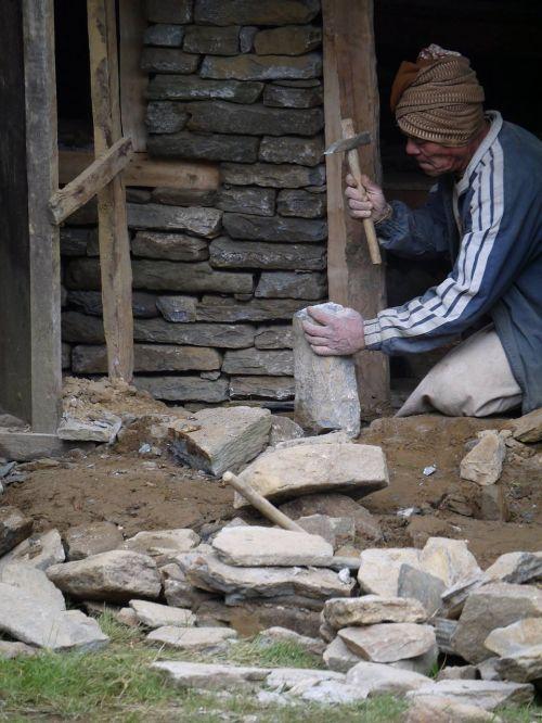 nepali vyras,senas vyras,darbo vyras,nepalese,pastatas,asian,tradicinis,senovės,Nepalas,vyras,senas,akmuo,katmandu,istorija