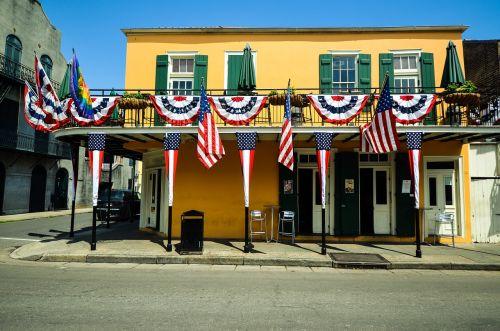 Naujasis Orleanas,Luiziana,usa,amerikietis,Jungtinės Valstijos,vėliavos,patriotinis,prancūzų kvadratas
