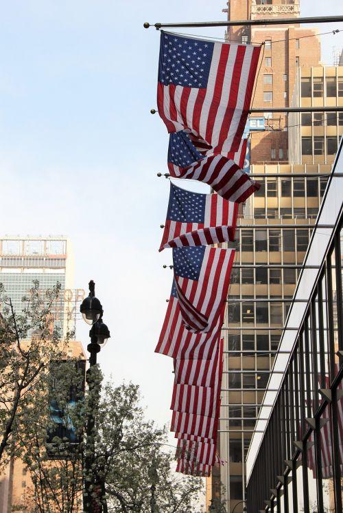 Niujorkas,usa,vėliavos,amerikietis,didelis obuolys,dangoraižis,nyc,Manhatanas,amerikietis,Jungtinės Valstijos,Jungtinės Valstijos vėliavos,Jungtinės Amerikos Valstijos,architektūra,fasadai,geflaggt,žvaigždės juostos,žvaigždės ir juostos