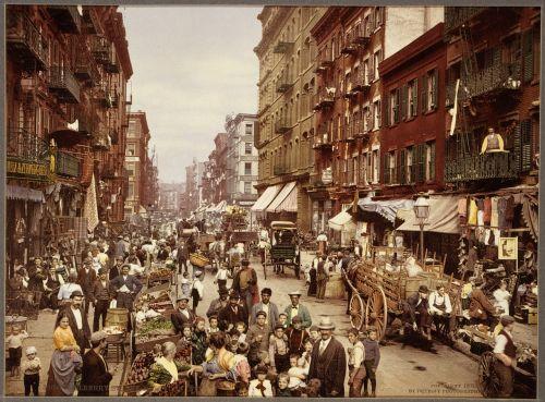 Niujorkas,1890,vintage,mulberry street,Niujorkas,Manhatanas,usa,kultūra,miestas,imigracija,amerikietis,imigrantai,miesto,gyvenimas,fotokromatas