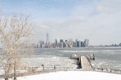 Niujorkas,panorama,žiema,miestas,metropolis,amerikietis
