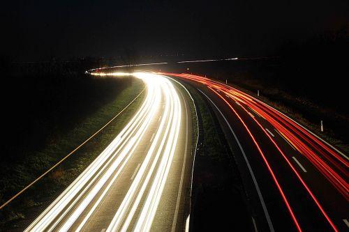naktis,šviesa,ilga ekspozicija,kelias,eismas,priekinė šviesa,atgal šviesa,prožektorius,šviesos pėdsakai