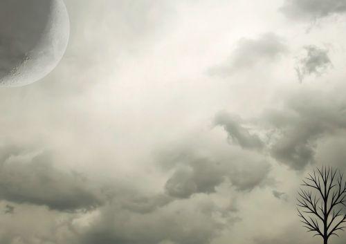 naktis,penumbra,fonas,debesys,mėnulis,baimė