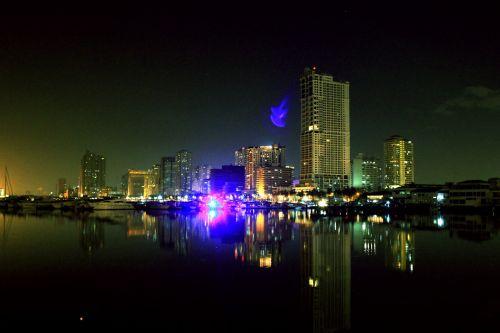naktis & nbsp, & nbsp, manila & nbsp, įlankoje, naktis, Manila & nbsp, įlankoje, vakaras, vieta, Manila, įlanka, atspindys, žibintai, tamsi, pastatai, Filipinai, naktis manilos įlankoje 2