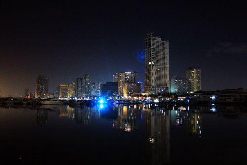 naktis & nbsp, & nbsp, manila & nbsp, įlankoje, naktis, Manila & nbsp, įlankoje, vakaras, vieta, Manila, įlanka, atspindys, žibintai, tamsi, pastatai, Filipinai, naktis manilos įlankoje