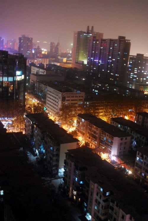 naktis, naktis, miestas, žibintai, Zhengzhou, naktis Džengdžou