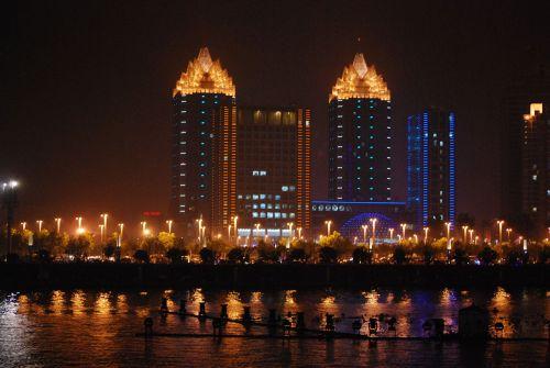 panorama, naktis, vaizdas, miestas, žibintai, architektūra, pastatai, naktis panoramoje