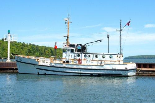 NOAA mokslinių tyrimų laivas shenehon, tyrimai, laivas, shenehon, laivas, valtis, kariuomenė, vilkikas, transportas, Jūrų, Mokslas, jūra, ežeras, Lake Superior, Bayfield, Wisconsin, uostas, uostas, Pier, R prieš, didieji ežerai, aplinkos tyrimai, aplinkos, NOAA