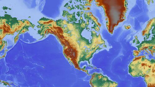 Šiaurės Amerika,amerikietis,žemėlapis,reljefo žemėlapis,aukščio profilis,aukščio struktūra,spalva,kartografija,mercatoriaus projekcija,atspalvis,aukštumos žemėlapis,didelis reljefas,didelio reljefo žemėlapis,topografija