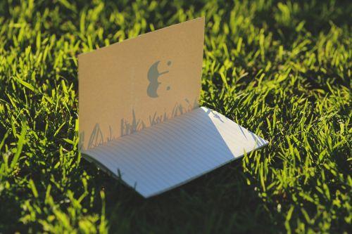 nešiojamojo kompiuterio,popierius,kortelės,žolė,puslapis