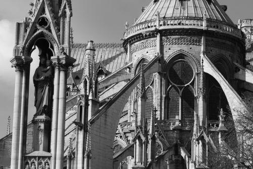 notre dame de paris,katedra,paris,paminklas,juoda ir balta,architektūra