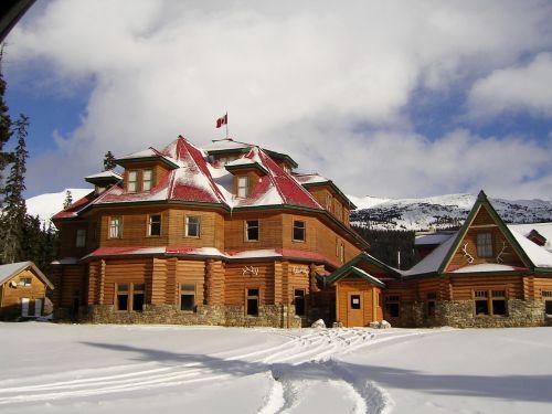 Num-Ti-Jar Namelis, Uolėti Kalnai, Kurortas, Sniegas, Turizmas, Žiema, Kelionė, Atostogos