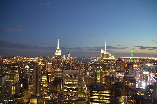 NYC, Panorama, naktis, Empire State Building