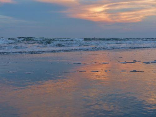 vandenynas, papludimys, saulėlydis, атлантический, smėlis, vanduo, raudona, oranžinė, vandenynas