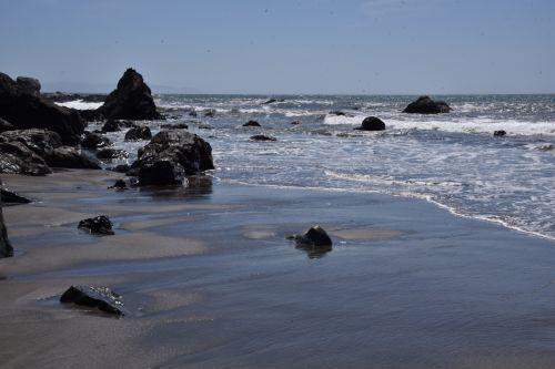 papludimys, akmenys, smėlis, Muiras & nbsp, paplūdimys, ca, Kalifornija, vandenynas, žemas & nbsp, potvynis, žemas & nbsp, naršyti, dideli & nbsp, uolos, vandenyno paplūdimys su akmenimis