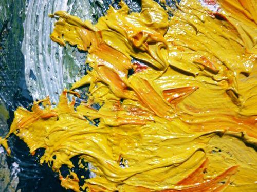 aliejus,geltona,dažymas,gėlė,saulėgrąžos,menas,Tapyba aliejiniais dažais,Iš arti,aliejus drobė,meno kūriniai,drobė