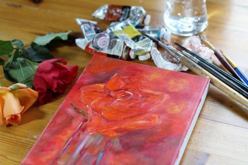 Tapyba aliejiniais dažais,menas,meno medžiagos,aliejus,drobė,dažymas,dizainas,menininkas,nuotrauka,meno,dažyti,šepetys,kūrybiškumas,spalva,raudona,impresionizmas,meno kūriniai,gamta,rožės,dažų vamzdžiai