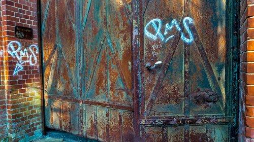 metai, tapyba, durų, nepatogus, geležies, metalo, plieno, spalvingas