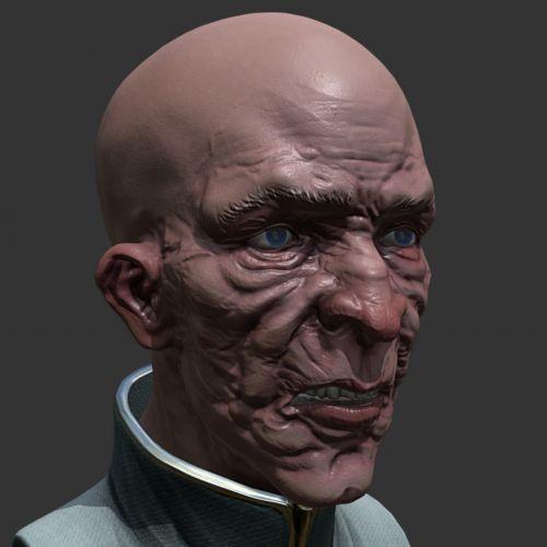 3d, skulptūra, senas, vyras, Patinas, biustas, galva, veidas, raukšlės, izoliuotas, fonas, spalva, tamsi, senas vyras biustas 3