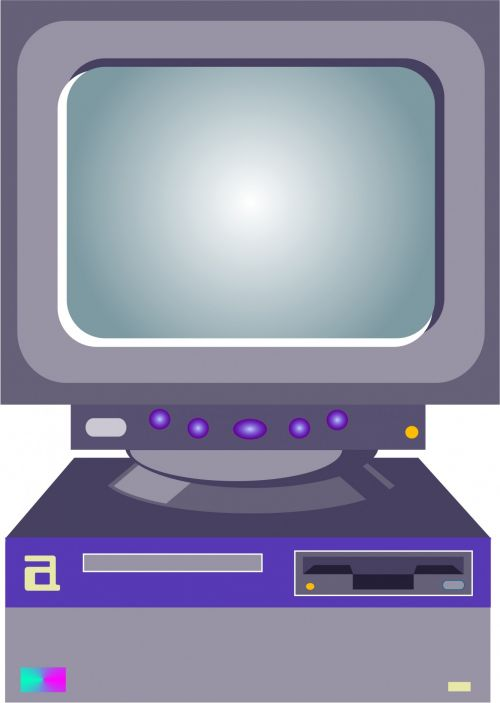 iliustracija, Iliustracijos, kompiuteris, technologija, elektronika, stalinis kompiuteris, ekranas, senojo stiliaus stalinis kompiuteris
