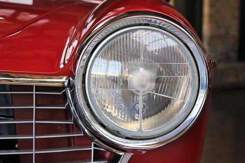 Oldtimer, Fiat, automatinis, transporto priemonės, klasikinis, nostalgija, prožektorius, nostalgija, raudonas