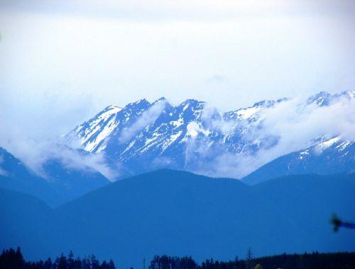kalnai, sniegas, kalnų & nbsp, asortimentą, Ramiojo vandenyno ir Šiaurės vakarų, Vašingtonas, Vašingtonas & nbsp, valstija, usa, gamta, panoraminis & nbsp, peržiūra, olimpinės kalnus, kalnai & nbsp, debesys, Debesuota, snieguotas, žiema, ruduo, sezonai, šaltas, atmosfera, mėlynos & nbsp, kalnai, olimpiniai kalnai su sniego