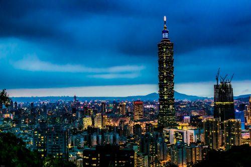 šimtas vienas pastatas,naktis,miestas,taipei,asija,vėlai,žibintai,miesto kraštovaizdis,Taipei finansų centras