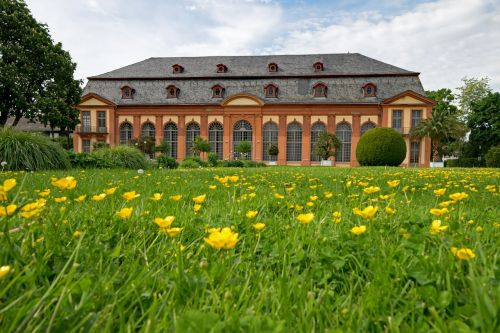 oranžerija,architektūra,pavasaris,gėlės,lankytinos vietos,pastatas,darmštatas,Hesse,Vokietija,Europa,parkas,sodas