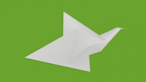 popierius, origami, paukštis, balandis, kartus, balta, žalias, fonas, origami paukštis