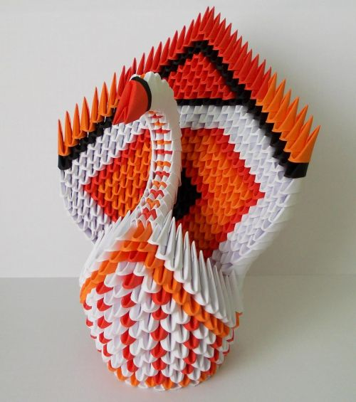 3d & nbsp, origami, gulbė, origami, origami