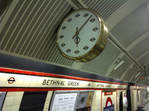 ornate, laikrodis, metro, po žeme, vamzdis, Bethnal, žalias, Londonas, vaizdingas laikrodis po žeme